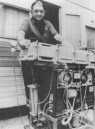 In 1973 Ronald Bell of West Australia took part in a three-month experiment that kept him alive on a mobile kidney machine. Bell spent thirty hours a week hooked up to the device, mostly while sleeping, and still managed to supervise his cattle business.