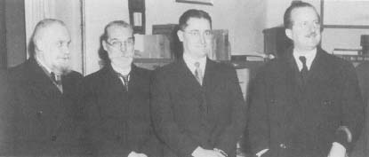 Florey (second from right) shared the 1945 Nobel Prize in medicine with Alexander Fleming and Ernst Boris Chain.