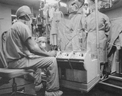A heart-lung machine. Before the heart-lung machine was invented, heart surgeons operated blindly with the heart still pumping.