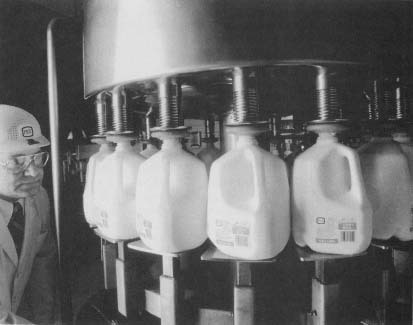 Milk goes through the pasteurization process.